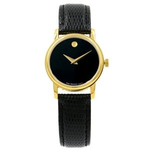 Movado Museum Black Dial Gold Ladies Quartz Watch